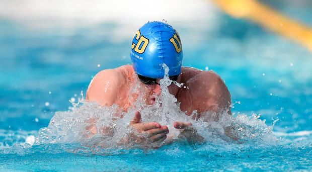 Alex Murphy, UCD, competes in his semi-final of the men's 50m breaststroke event at the Irish Open Swimming Championships yesterday