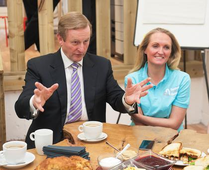 Taoiseach Enda Kenny met programme manager Marilyn Gaughan as he visited the offices of Galway's bid for the 2020 European Capital of Culture. Photo: Andrew Downes