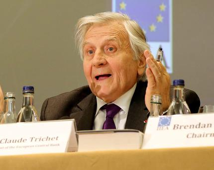 Jean-Claude Trichet, former president of the European Central Bank, answers questions from members of the Oireachtas Banking Inquiry committee at the Royal Hospital Kilmainham