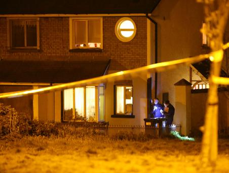Detectives outside the house in Pallasgreen, Co. Limerick where a murder was committed last night. Photograph Liam Burke/Press 22