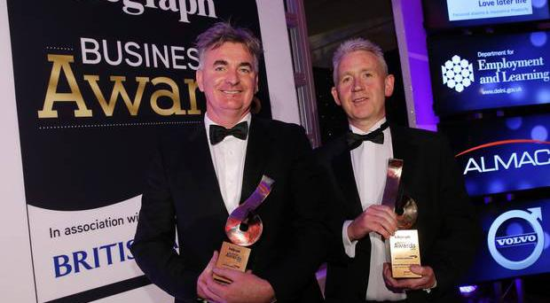 Winners Brian Conlon from First Derivatives, left and Patrick McAliskey from Novosco pictured at the awards.