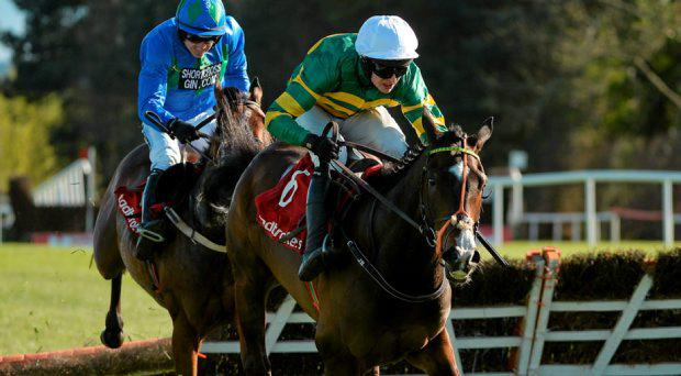 Jezki, with Mark Walsh up, after clearing the last ahead of Hurricane Fly, with Ruby Walsh up, who finished second, on their way to winning the Ladbrokes World Series Hurdle. Punchestown Racecourse, Punchestown, Co. Kildare