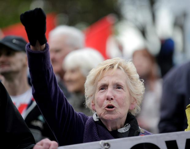 Anti-austerity protesters march from the Garden of rememberance to Liberty Hall as part of the annual May Day Demonstration. Picture:Arthur Carron