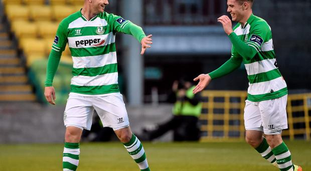 Mikey Drennan, left, Shamrock Rovers, celebrates after scoring his side's first goal with team-mate Brandon Miele. SSE Airtricity League Premier Division, Shamrock Rovers v Drogheda United, Tallaght Stadium, Tallaght, Co. Dublin. Picture credit: David Maher / SPORTSFILE
