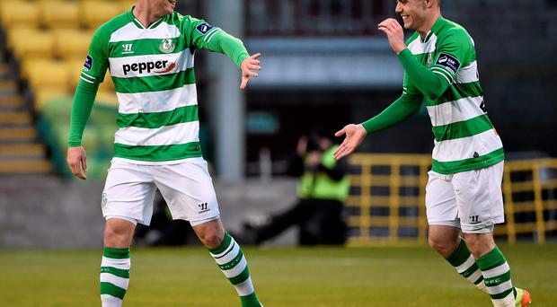 Mikey Drennan (left) celebrates with Brandon Miele after scoring for Shamrock Rovers