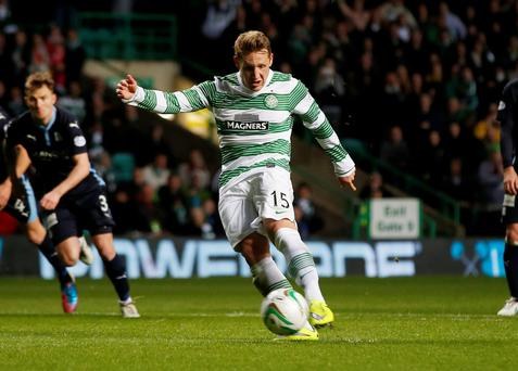 Kris Commons scores the third goal for Celtic from the penalty spot