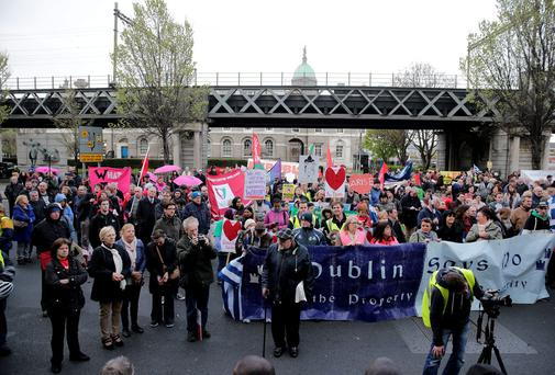 Anti-austerity protesters march from as part of the annual May Day Demonstration. Picture: Arthur Carron