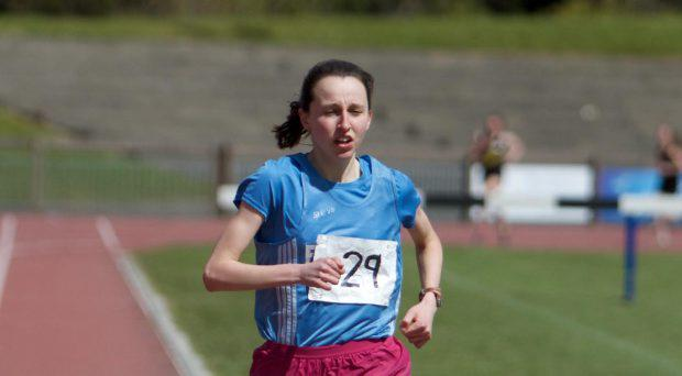Deirdre Healy (Inst of Ed) winning the senior girls 1500m at the East Leinster Schools Track and Field Championships
