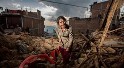 Phama Basnet who house was destroyed in the Nepal earthquake in the Gorkha district. Pic:Mark Condren