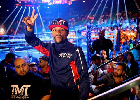 Floyd Mayweather reacts following weigh-ins for the upcoming boxing fight against Manny Pacquiao (not pictured) at MGM Grand Garden Arena. Credit: Mark J. Rebilas-USA TODAY Sports