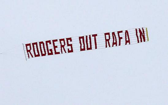 The sign that was flown over Anfield this afternoon