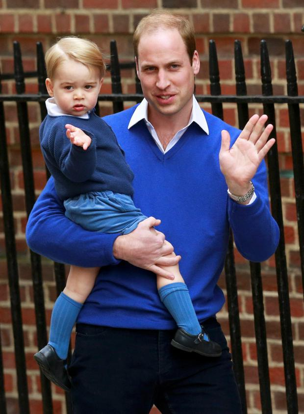 Britain's Prince William returns with his son George to the Lindo Wing of St Mary's Hospital, after the birth of his daughter in London, Britain May 2, 2015. Britain's Duchess of Cambridge, has given birth to a daughter, the couple's residence Kensington Palace announced on Saturday. REUTERS/Cathal McNaughton TPX IMAGES OF THE DAY