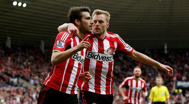 Sunderland's Jordi Gomez celebrates scoring their second goal from the penalty spot with Sebastian Larsson Action Images via Reuters / Lee Smith