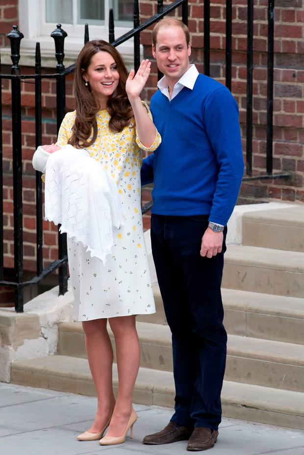 The Duke And Duchess Of Cambridge Outside The Lindo Wing Of St Marys Hospital In London