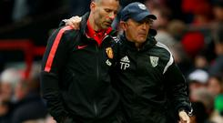 West Bromwich Albion manager Tony Pulis with Manchester United assistant manager Ryan Giggs Action Images via Reuters / Jason Cairnduff