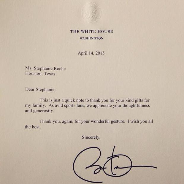 The note Barack Obama sent to Stephanie Roche Pic: Stephanie Roche/Twitter