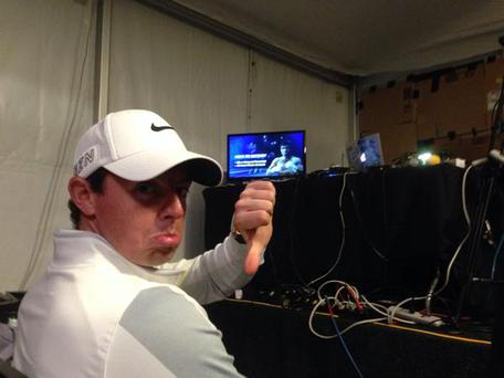 Rory McIlroy watching the fight last night