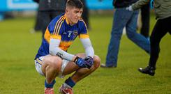 A dejected Steven O'Brien, Tipperary at the final whistle. Nearly half the Tipperary team from Saturday are already playing with the senior side, thereby refuting the claim that U-21 is a training ground for potential seniors