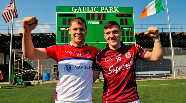 3 May 2015; Eddie Hoare and Damien Comer, Galway, celebrate after the game. Connacht GAA Football Senior Championship, Preliminary Round, New York v Galway. Gaelic Park, New York, USA. Picture credit: Ray Ryan / SPORTSFILE