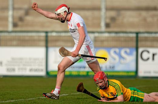 Damien Casey, Tyrone, celebrates after scoring his sides second goal