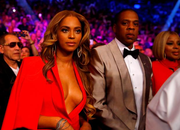 Beyonce Knowles and Jay Z attend the welterweight unification championship bout on May 2, at MGM Grand Garden Arena in Las Vegas, Nevada (Al Bello/Getty)