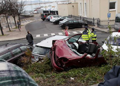 Emergency services attend the scene of the crash in Dun Laoghaire. Photo: Stephen Collins