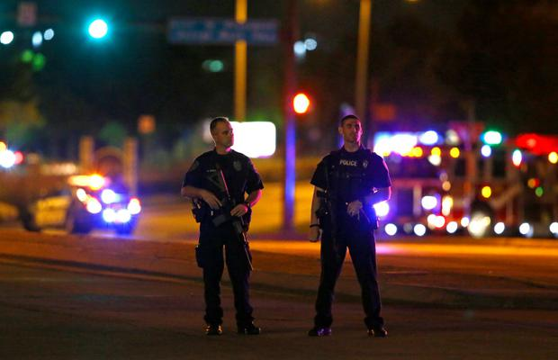 Police officers block an intersection near the Curtis Culwell Center after a shooting outside the Muhammad Art Exhibit and Contest, sponsored by the American Freedom Defense Initiative which was being held at the facility in Garland, Texas May 3, 2015. REUTERS/Mike Stone