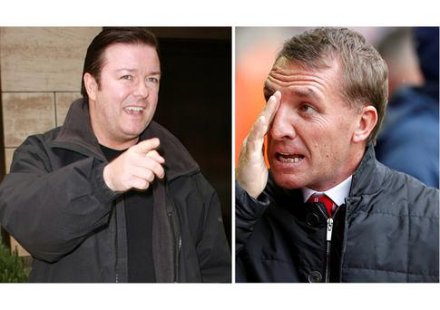 Ricky Gervais (David Brent) and (right) Brendan Rodgers