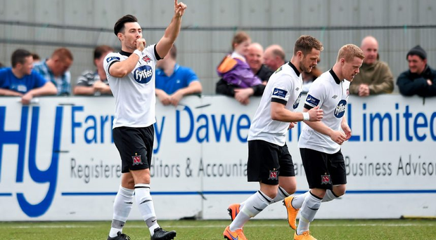 Richie Towell celebrates after scoring his side's first goal at Oriel Park, Dundalk, Co. Louth. Picture credit: Paul Mohan / SPORTSFILE