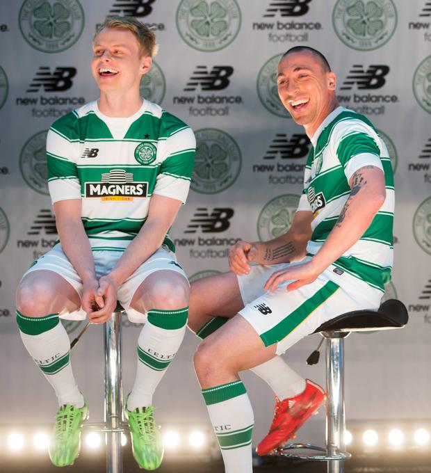 Celtic's Scott Brown and Gary Mackay-Steven unveil the new kit for the 2015/16 season at Celtic Park