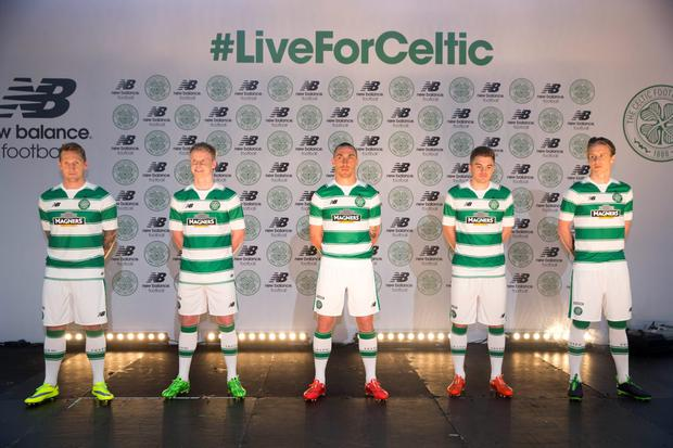 Celtic's Kris Commons, Gary Mackay-Steven, Scott Brown, James Forrest and Stefan Johansen unveil the new first team kit for the 2015/16 season at Celtic Park
