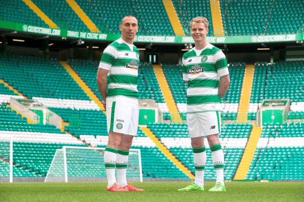 Celtic s Scott Brown and Gary Mackay-Steven unveil the new kit for the 2015  7cc262996