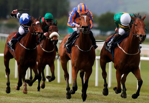 Iveagh Gardens ridden by Niall McCullagh (right) on the way to winning the Canford Cliffs European Breeders Fund Athasi Stakes at Curragh Racecourse, Co Kildare, Ireland on Monday (Brian Lawless/PA Wire