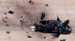 An aerial view of the car used by the two gunmen, who were killed by police after they opened fire on an anti-Muslim exhibition in Texas Credit: Reuters