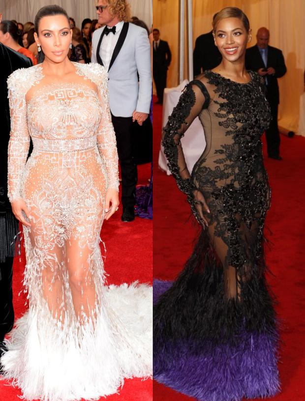 Kim Kardashian has been accused of copying Beyonce's Met Gala look
