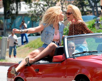 Iggy Azalea and Britney Spears are seen on set of their music video on April 09, 2015 in Los Angeles, California. (Photo by Light Brigade/Bauer-Griffin/GC Images)