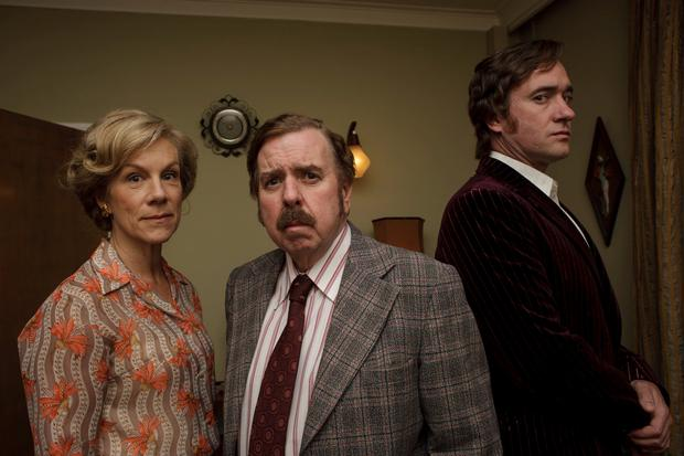 Juliet Stevenson as Betty Grosse, Timothy Spall as Maurice Grosse and Matthew Macfadyen as Guy Lyon Playfair in the The Enfield Haunting