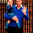 Prince William, Duke of Cambridge arrives with his son Prince George to the Lindo Wing of St Mary's Hospital on May 2, 2015 in London, England. (Photo by Ian Gavan/Getty Images)