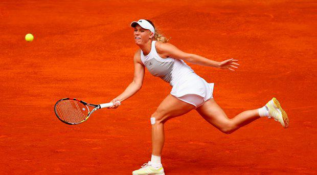 Caroline Wozniacki of Denmark in action against Christina McHale