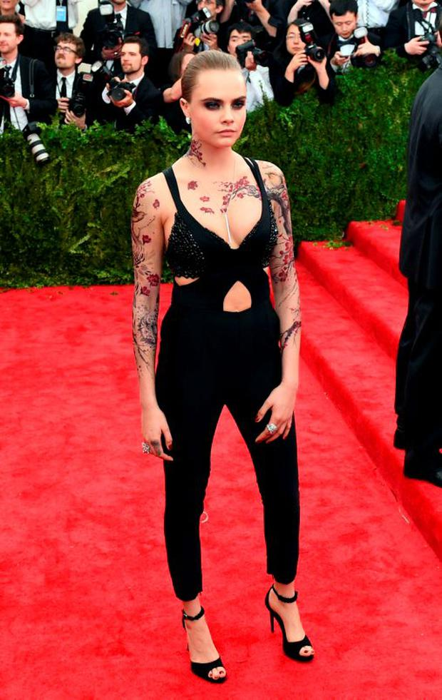 Cara Delevingne's cutout jumpsuit by Stella McCartney was one of the more demure looks of the night.