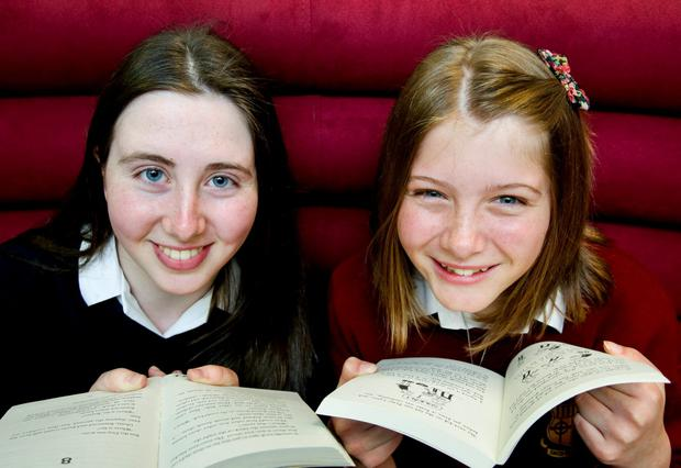 Hannah Kennedy (14 years old) from Sancta Maria College, Rathfarnham, Dublin and (l) Oyanne Gaham (16 years old) from St. Raphaela's, Stillorgan, Co.Dublin