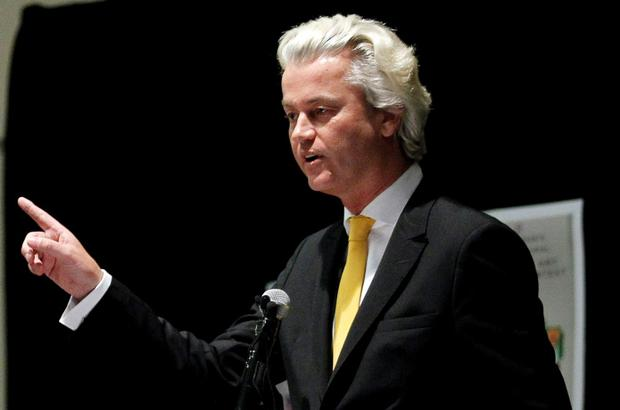 Far-right Dutch politician Geert Wilders speaks at the Muhammad Art Exhibit and Contest Credit: Mike Stone