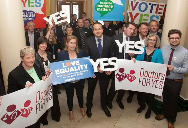 05/05/2015 Minister for Health Leo Varadkar TD with various health professionals calling for a YES vote in the forthcoming Marriage Equality Referendum at the Royal College of Physicians , Dublin. Photo: Gareth Chaney Collins