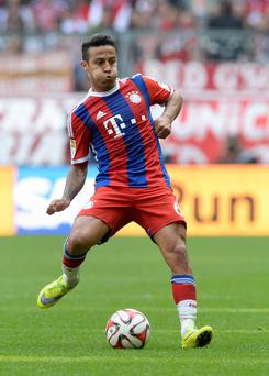 Bayern Munich's Spanish midfielder Thiago Alcantara, pictured during the German first division Bundesliga football match between FC Bayern Muenchen vs Eintracht Frankfurt in Munich, Germany (Getty Images)
