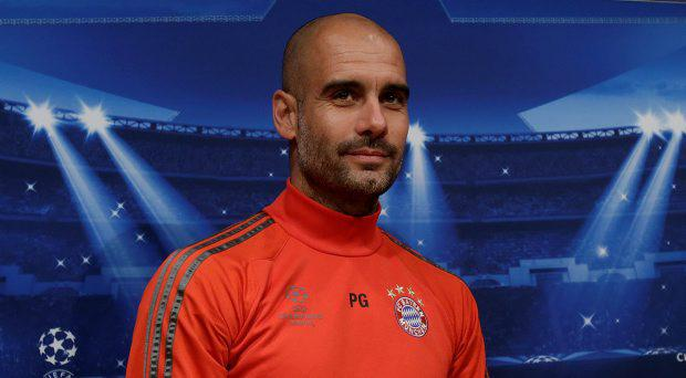 Bayern Munich's coach Pep Guardiola attends a press conference at the Camp Nou stadium