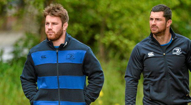 Leinster's Sean O'Brien, left, and Rob Kearney arriving for squad training