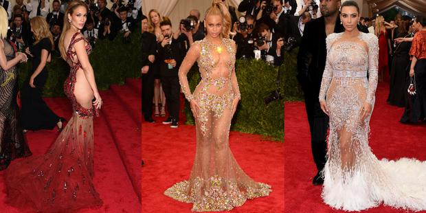 Left to Right: J-Lo, Beyonce and Kim Kardashian attempt to steal the show at the 2015 Met Gala