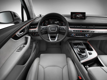The interior of an Audi console.
