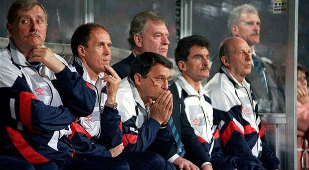Graham Taylor (centre) during his time in charge of England