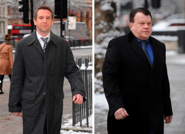 File photos dated of the Russian former owner of Portsmouth Football Club Vladimir Antonov (left) and his Lithuanian business partner Raimondas Baranauskas. Photo read: Stefan Rousseau/PA Wire